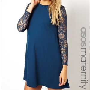 ASOS Maternity Blue Swing Dress with Lace Sleeve